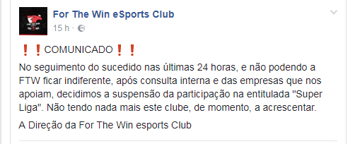 ftw comunicado superliga